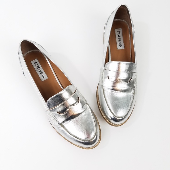 b289b37bd28 Steve Madden Cyylo Metallic Silver Loafers